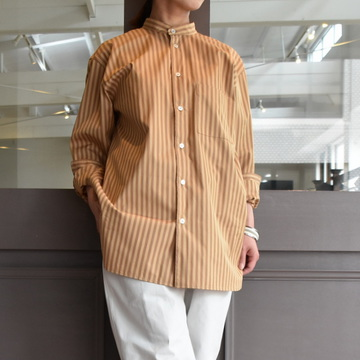 【30%off sale】 CristaSeya(クリスタセヤ)/ STRIPED COTTON MAO SHIRT