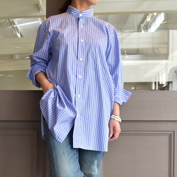 【30%off sale】 CristaSeya(クリスタセヤ)/ HANDMADE MAO SHIRT WITH FRINGED COLLAR(blue)