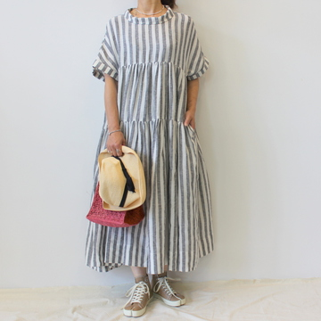 【30%OFF SALE】ÉCOLE DE CURIOSITÉS(エコールドキュリオジテ)STRIPED SHEER LINEN DRESS_DOLLY【K】