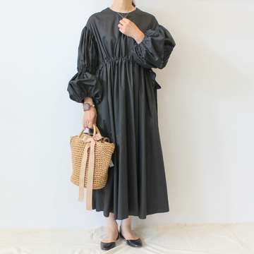 【30%OFF SALE】ÉCOLE DE CURIOSITÉS(エコールドキュリオジテ)COTTON SILK POPLIN DRESS_DOROTHY【K】