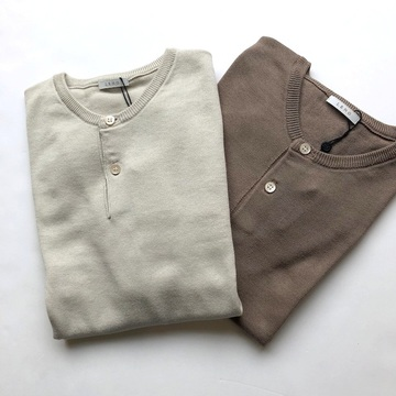 【30% off SALE】 LENO&Co.(リノアンドコー) / HENLEY NECK HALF SLEEVE SWEATER(2色展開)【K】