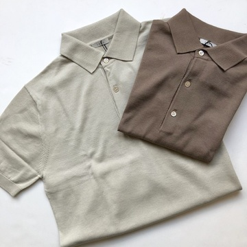 【30% off SALE】LENO&Co.(リノアンドコー) / POLO COLLAR HALF SLEEVE SWEATER(2色展開)【K】
