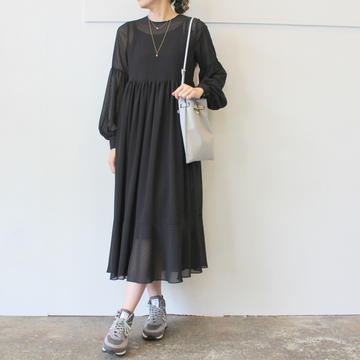 【40%OFF SALE】Graphpaper(グラフペーパー)Chiffon Polca Dots Dress_GL191-60073【K】