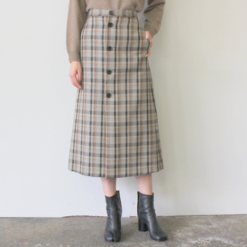 AURALEE(オーラリー) DOUBLE FACE CHECK SKIRT(2色展開)_A9AS04BN【K】