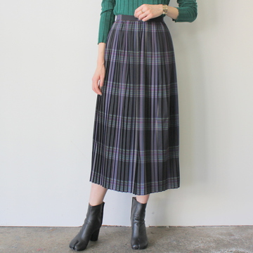 AURALEE(オーラリー) SUPER LIGHT WOOL CHECK PREATED SKIRT_A9AS03LC【K】