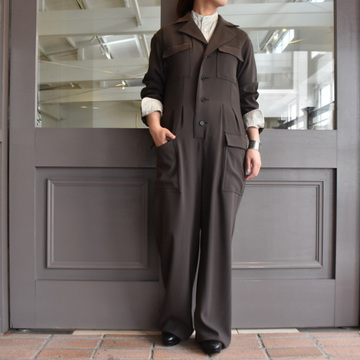 AURALEE(オーラリー)  HARD TWIST WOOL BARATHEA JUMPSUIT #A9AT01BB
