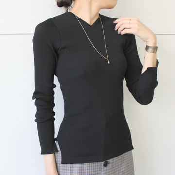 AURALEE(オーラリー) SUPER FINE WOOL HIGHGAUGE RIB KNIT V-NECK P/O(2色展開)_A9AV02TR【K】