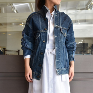 【30% off sale】(クリスタセヤ)/ BLESS+CritaSeya PATCHED DENIM SWEATER JACKET #18ED-JA