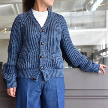 【30% off sale】(クリスタセヤ)/ BLESS+CritaSeya PATCHED DENIM KNIT CARDIGAN #18ED-CA