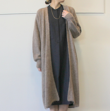 YLÉVE(イレーヴ) KID MOHAIR KNIT LONG CARDIGAN_168-9264026【K】