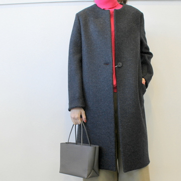 HARRIS WHARF LONDON(ハリスワーフロンドン) Women collarless coat in pressed wool_A1257MLK【K】