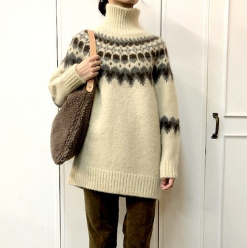 BATONER(バトナー)MOHAIR NORDIC TURTLE NECK TUNIC(2色展開)_BN-19FL-049【K】