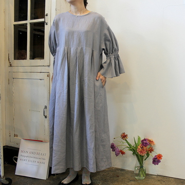 GASA*(ガサ) 【20SS】黒豆さん Gathered sleeves dress_11201-03111-B-F【K】
