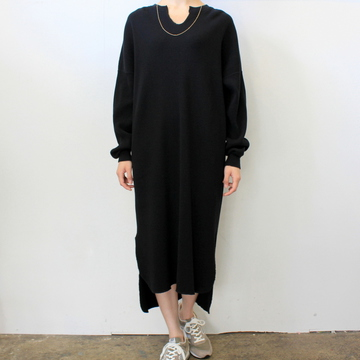 Graphpaper(グラフペーパー)【20 SS】Waffle L/S Slit Neck Dress(2色展開)_GL201-70132B【K】