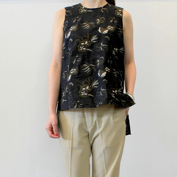 【30% off sale】YOKE(ヨーク)【20SS】BACK SLIT JACQUARD TOPS_YKL20SS0009BL-K【K】