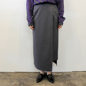 Graphpaper(グラフペーパー)【20 AW】Compact Ponte Wrap Skirt(2色展開)_GL203-40035B【K】