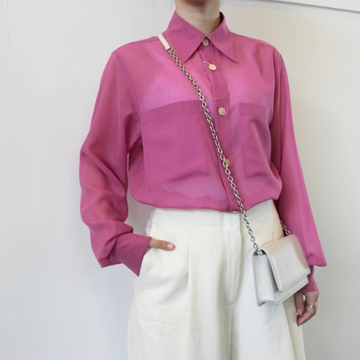 AURALEE(オーラリー)【21SS】WOOL RECYCLE POLYESTER SHEER CLOTH SHIRT(2色展開)_A21SS01RM【K】