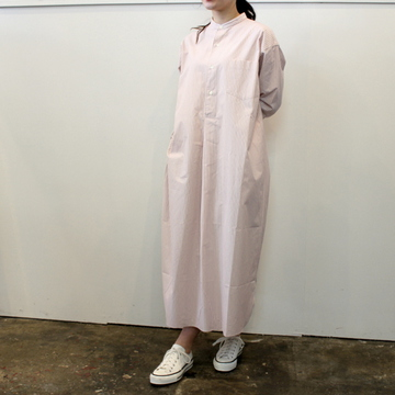 LENO&Co.(リノアンドコー) 【21SS】BAND COLLAR PULLOVER DRESS STRIPE_L2101DR001【K】