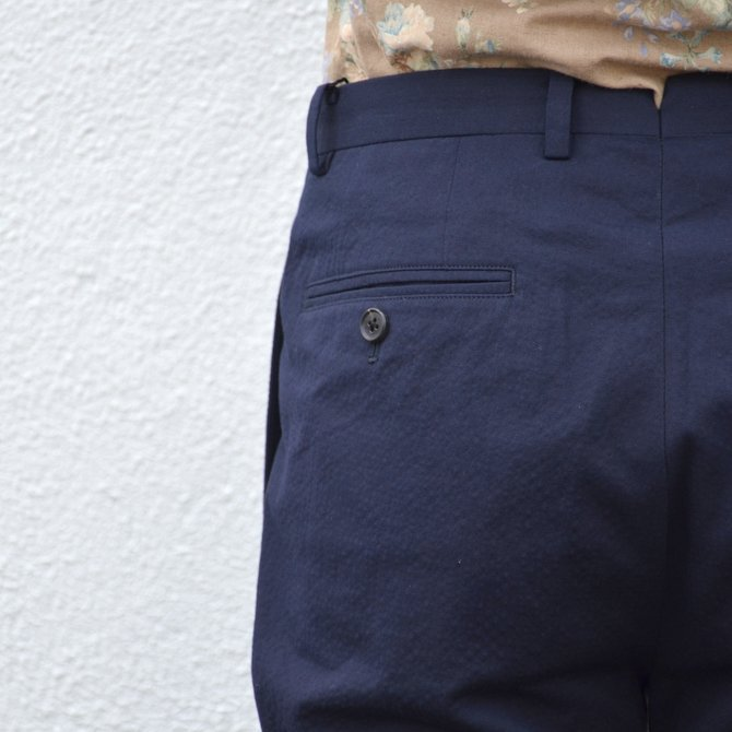 KENNETH FIELD (ケネスフィールド)  TRIM TROUSER ITALIAN SUCKER -NAVY- #17SS-40(10)