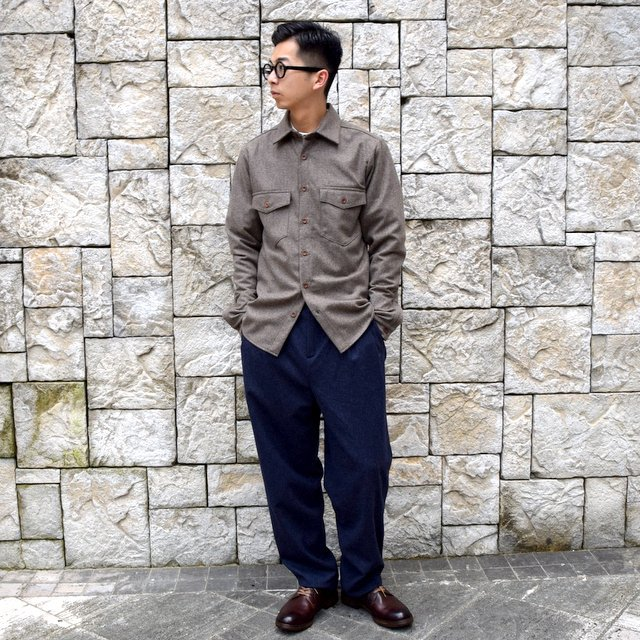 【30% off sale】FRANK LEDER(フランクリーダー) /LODEN WOOL FLAP POCKET SHIRT 0726031-GR(10)