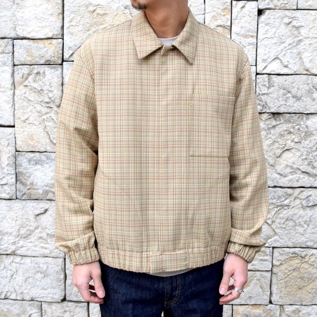 【2020 SS】 AURALEE(オーラリー)/ HARD TWIST WOOL DOUBLE FACE CHECK BLOUZON -BEIGE CHECK- #A20SB01WC(10)