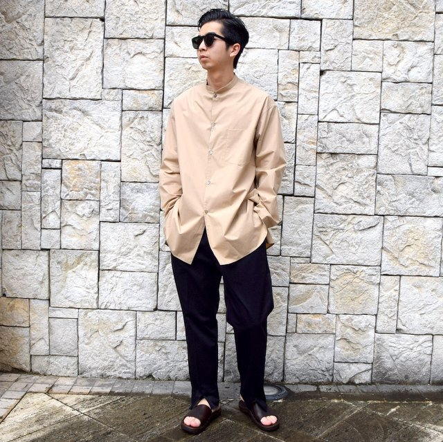 【30% off sale】【2020】blurhms(ブラームス) / Stand-up Collar Shirt L/S:LIGHT BEIGE  BHS-20SS019(10)