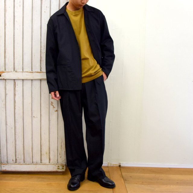 【2020】YOKE(ヨーク)/ FRONT TUCK BELTED WIDE TROUSERS -BLACK- #YK20AW0158P(10)