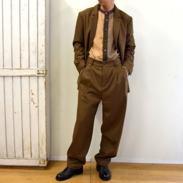 FRANK LEDER(フランクリーダー)/ LIGHT WEIGHT LODEN WOOL 2TUCK TROUSERS -BROWN- #0723028(10)