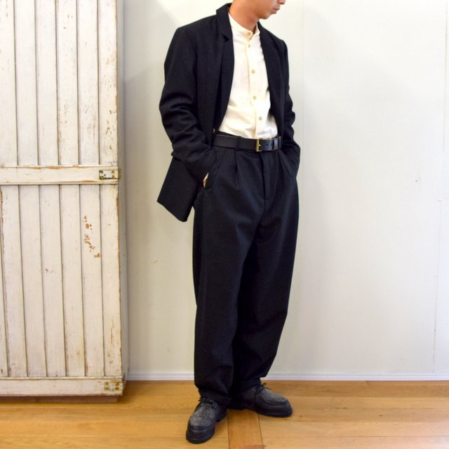 【2020】FRANK LEDER(フランクリーダー)/ LIGHT WEIGHT LODEN WOOL 2TUCK TROUSERS -BLACK- #0723028(10)