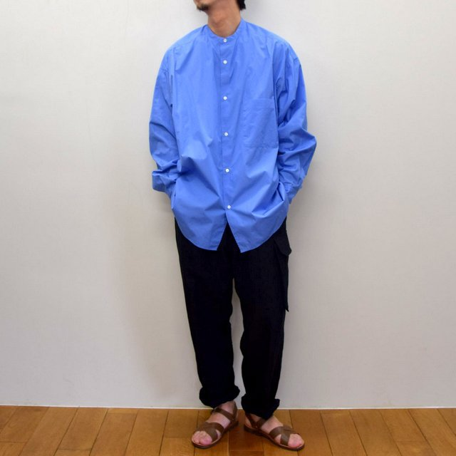 Graphpaper (グラフペーパー)/ BROAD OVERSIZED L/S BAND COLLAR SHIRT -BLUE- #GM211-50111B-GR(10)