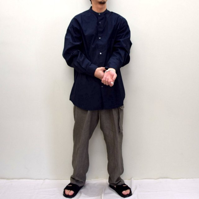 Graphpaper (グラフペーパー)/ BROAD OVERSIZED L/S BAND COLLAR SHIRT -NAVY- #GM211-50111B-GR(10)