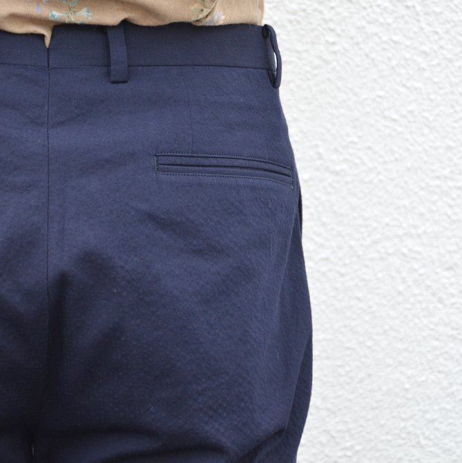 KENNETH FIELD (ケネスフィールド)  TRIM TROUSER ITALIAN SUCKER -NAVY- #17SS-40(11)