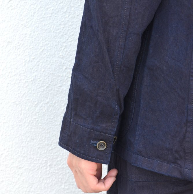 chimala(チマラ)/10OZ INDIGO X BLACK WEFT DENIM RAILROAD JACKET(UNISEX) -INDIGO- CS23-JT19(12)