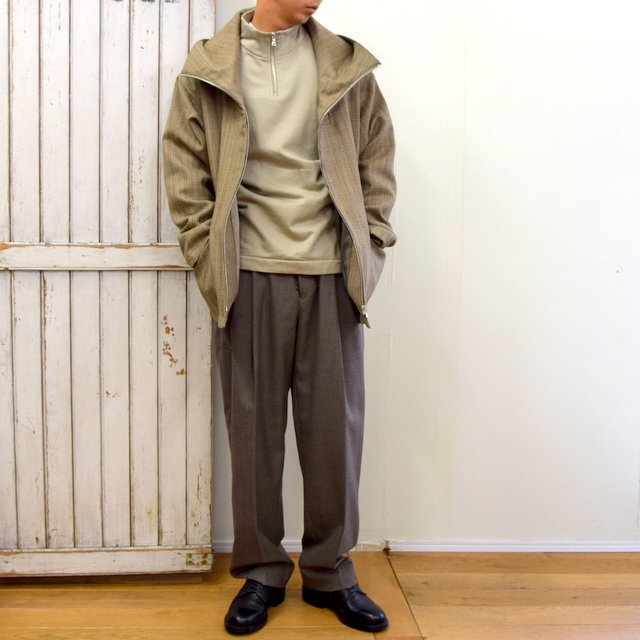 AURALEE(オーラリー)/ BLUEFACED WOOL DOUBLE CLOTH ZIP HOODIE -MIX BEIGE- #A20AB02BN(12)
