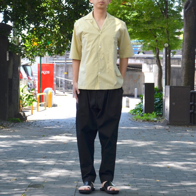 【40% OFF SALE】STUDIO NICHOLSON(スタジオニコルソン)/ OPEN COLLAR SHORT SLV SHIRT -KHAKI- #SN-280(13)