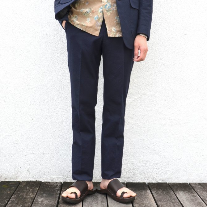 KENNETH FIELD (ケネスフィールド)  TRIM TROUSER ITALIAN SUCKER -NAVY- #17SS-40(1)