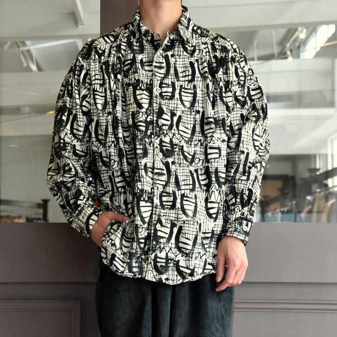 【2019 AW】AiE(エーアイイー) PAINTER SHIRT-ABSTRACT PRINT- FK469(1)