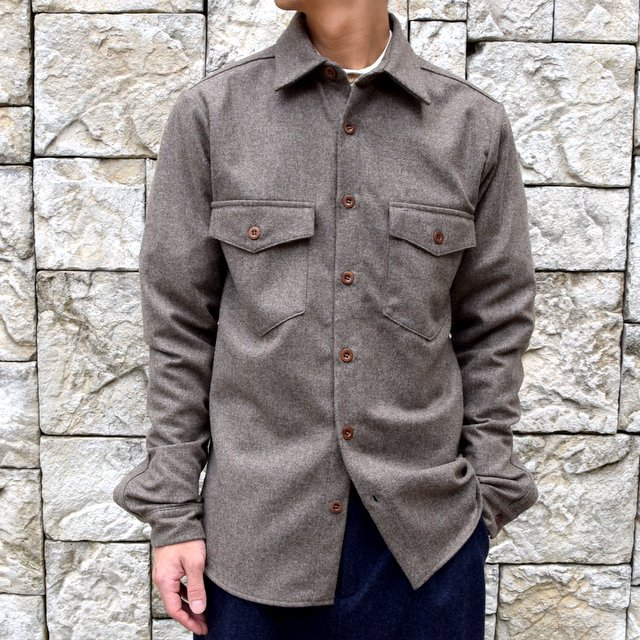 【30% off sale】FRANK LEDER(フランクリーダー) /LODEN WOOL FLAP POCKET SHIRT 0726031-GR(1)