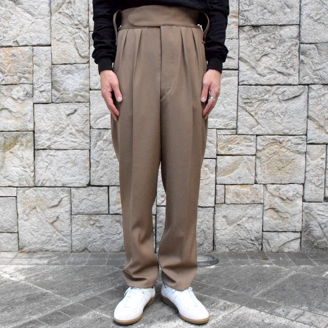 【2019 AW】NEAT(ニート)/ WOOL HIGHT DENSITY GABARDINE BELTLESS -CAMEL-#19-02WGB(1)