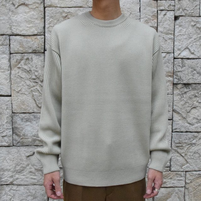 【30%OFF SALE】【2019 AW】 AURALEE(オーラリー)/SUPER FINE WOOL RIB KNIT BIG P/O -PALE GREEN- #A9AP01RK(1)