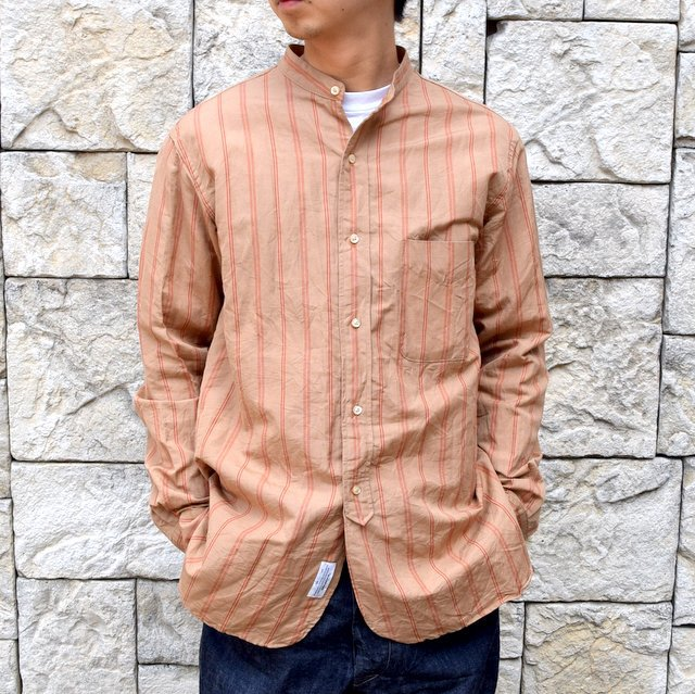 【2020】 A VONTADE(ア ボンタージ)/ BANDED COLLAR SHIRTS -BROWN STRIPE- #VTD-0312-SH(1)
