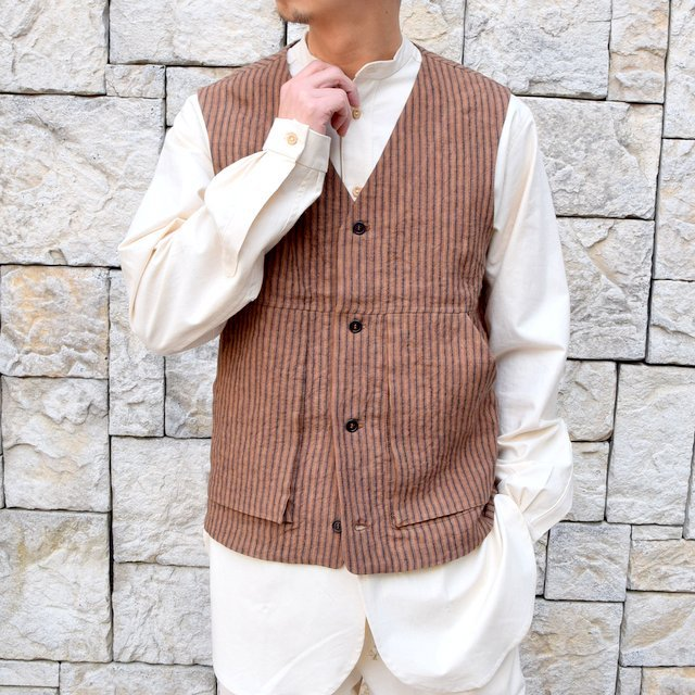 【30% off sale】【2020】FRANK LEDER(フランクリーダー)/ ROOT DYED STRIPED LINEN VEST -BROWN- #0917073-89(1)
