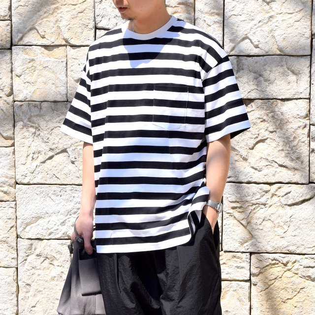 【2020 SS】Graphpaper (グラフペーパー)/ BORDER POCKET TEE S/S -WHITE×BLACK- #GM201-70149B(1)