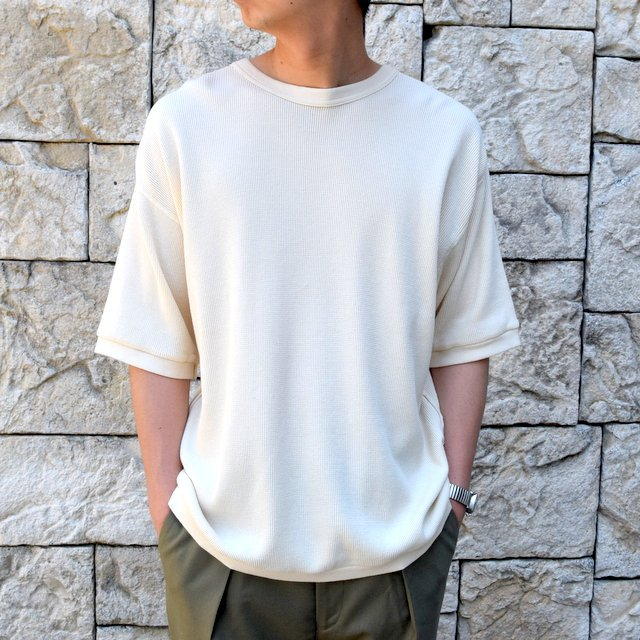 【2020 SS 】 MARKAWARE(マーカウェア)/ WAFFLE ONE SIDE RAGLAN S/S -RAW WHITE- #A20A-12CS01B(1)