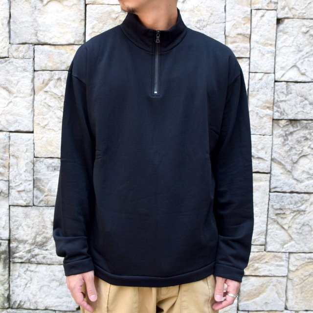 AURALEE(オーラリー)/ ELASTIC HIGH GAUGE SWEAT HALF ZIP P/O -BLACK- #A20AP01NU(1)