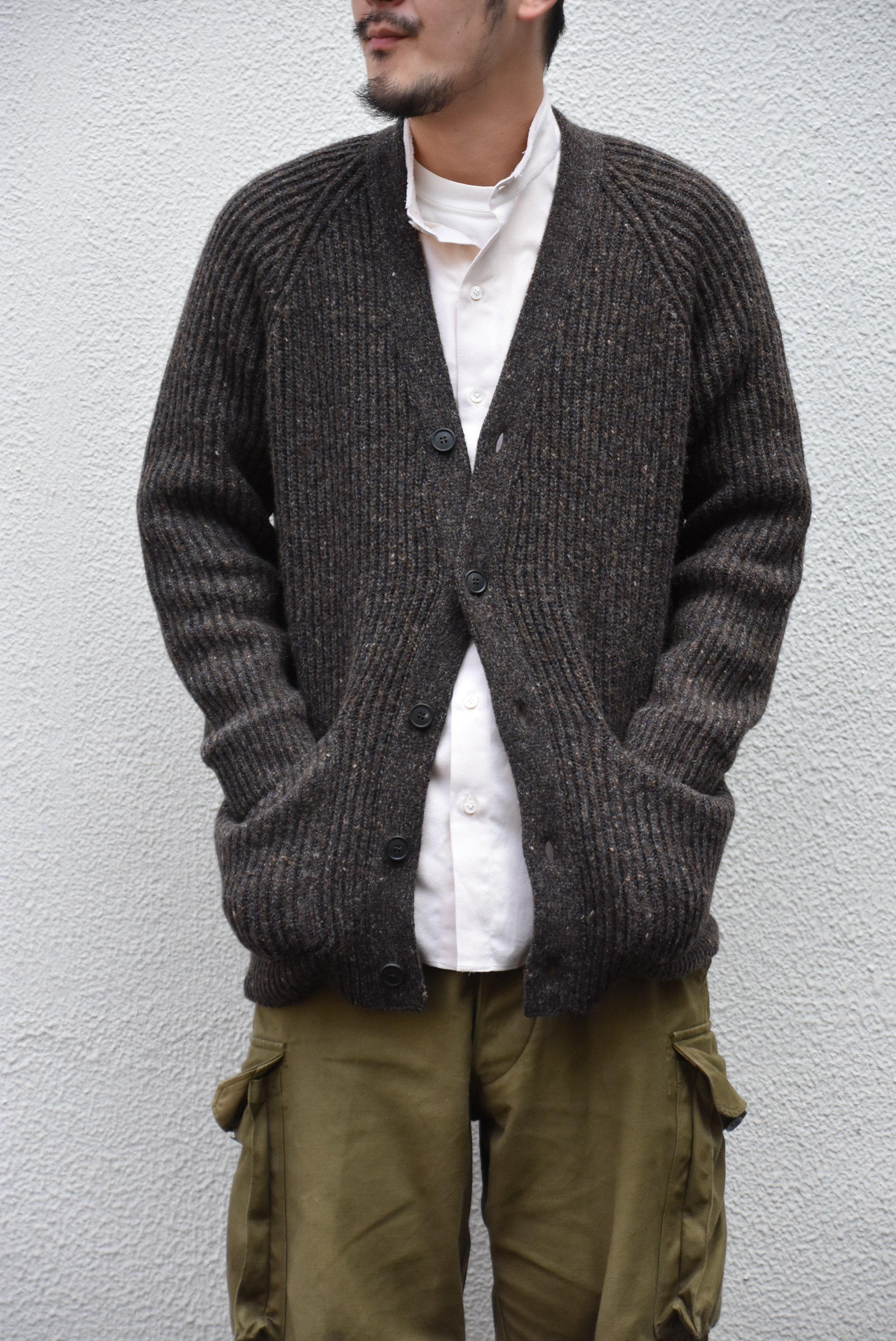【2020】 Cristaseya(クリスタセヤ)/ CAMEL RIBBED CARDIGAN-BROWN- #22KA-CA-BB(1)