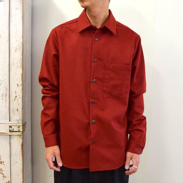 FRANK LEDER(フランクリーダー)/ LIGHT WEIGHT LODEN WOOL PLAIN SHIRT -RED- #0726027(1)