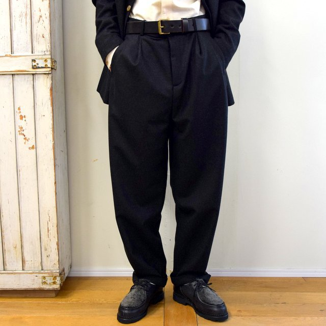 【2020】FRANK LEDER(フランクリーダー)/ LIGHT WEIGHT LODEN WOOL 2TUCK TROUSERS -BLACK- #0723028(1)