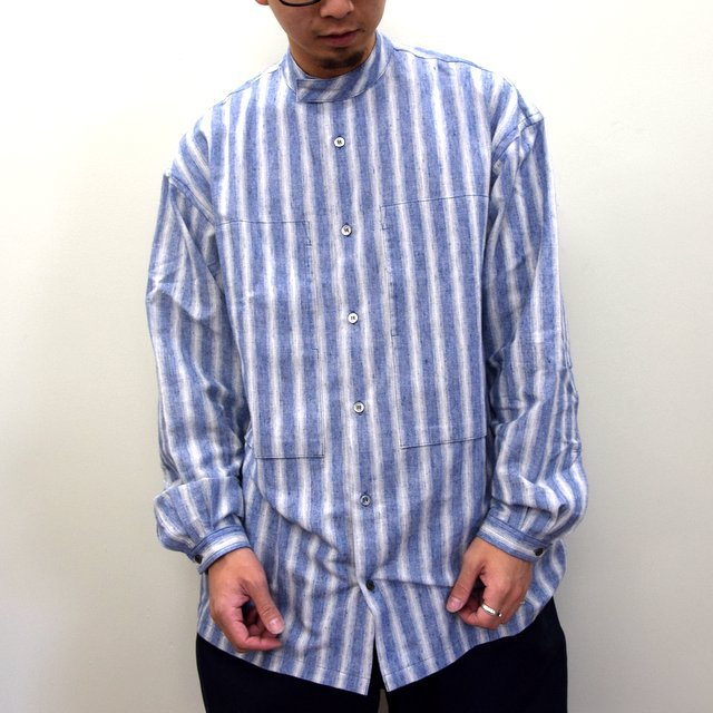 E. TAUTZ(イートウツ)/ COLLARLESS LINEMAN SHIRT -BLUE STRIPE- #(1)