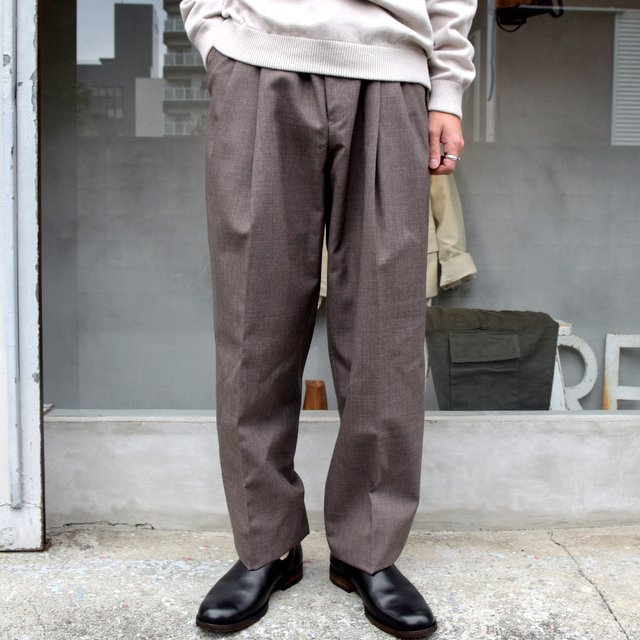 AURALEE(オーラリー)/ BLUEFACED WOOL WIDE SLACKS -TOP BROWN- #A20AP03BH(1)